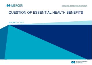 QUESTION OF ESSENTIAL HEALTH BENEFITS