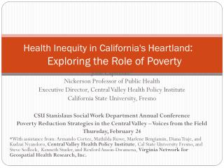Health Inequity in California's Heartland : Exploring the Role of Poverty
