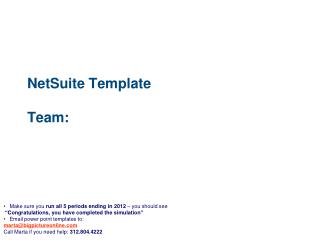 NetSuite Template Team: