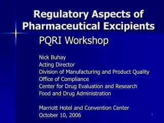 Regulatory Aspects of Pharmaceutical Excipients