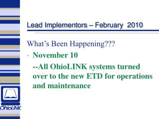 Lead Implementors � February  2010