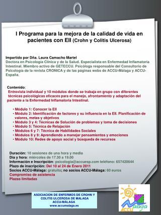 I Programa para la mejora de la calidad de vida en pacientes con EII  (Crohn y Colitis Ulcerosa)