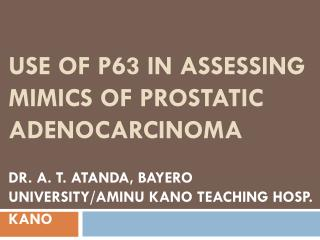Use of p63 in assessing mimics of prostatic adenocarcinoma
