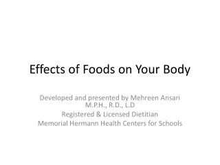 Effects of Foods on Your Body