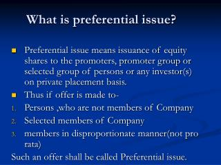 What is preferential issue?