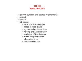 CEE 540 Spring Term 2012