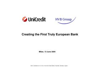 Creating the First Truly European Bank