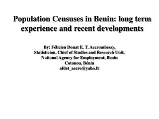 Population Censuses in Benin: long term experience and recent developments