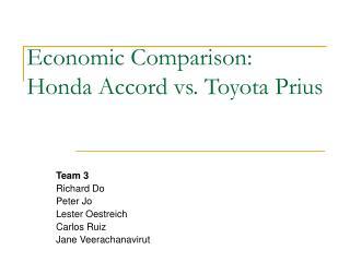 Economic Comparison: Honda Accord vs. Toyota Prius