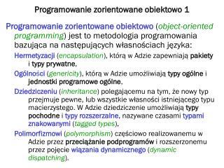 Programowanie zorientowane obiektowo  1