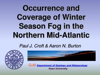 Occurrence and Coverage of Winter Season Fog in the Northern Mid-Atlantic