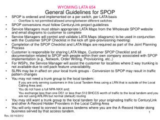 General Guidelines for SPOP