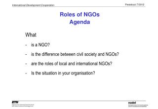 NGOs as independant actor in developing cooperation