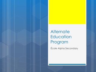 Alternate Education Program