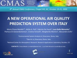 A NEW OPERATIONAL AIR QUALITY PREDICTION SYSTEM OVER ITALY