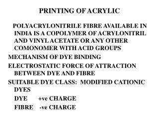 PRINTING OF ACRYLIC