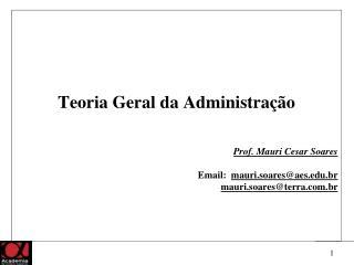 Teoria Geral da Administração Prof. Mauri Cesar Soares