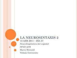 LA NEUROSINTAXIS 2 13 ABR 2011 – DÍA 37