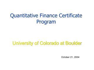 Quantitative Finance Certificate Program