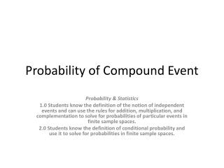 Probability of Compound Event