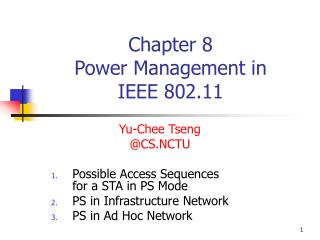 Chapter 8 Power Management in  IEEE 802.11