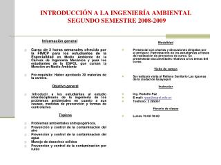 INTRODUCCIÓN A LA INGENIERÍA AMBIENTAL  SEGUNDO SEMESTRE 2008-2009