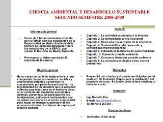 CIENCIA AMBIENTAL Y DESARROLLO SUSTENTABLE SEGUNDO SEMESTRE 2008-2009
