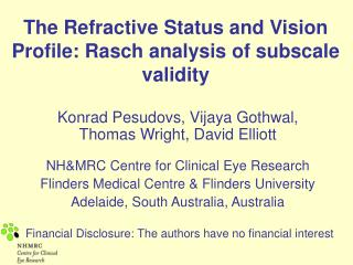 The Refractive Status and Vision Profile: Rasch analysis of subscale validity