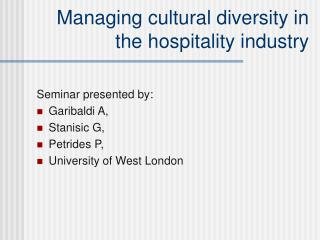 Managing cultural diversity in the hospitality industry