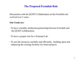 The Proposed Fermilab Role