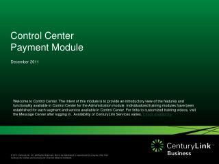Control Center Payment Module
