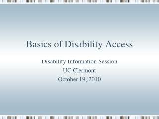 Basics of Disability Access