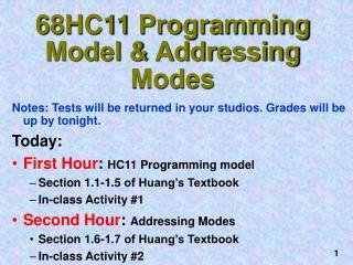 68HC11 Programming Model & Addressing Modes