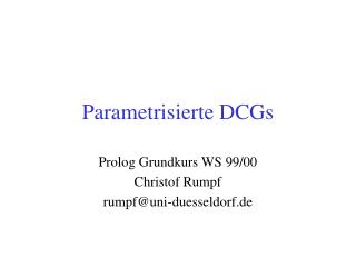 Parametrisierte DCGs