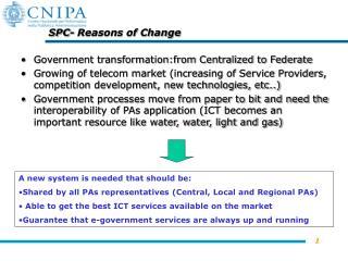 SPC- Reasons of Change