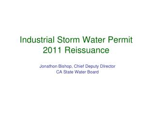 Industrial Storm Water Permit 2011 Reissuance