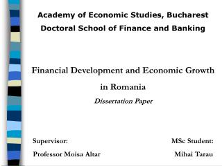 Academy of Economic Studies, Bucharest Doctoral School of Finance and Banking