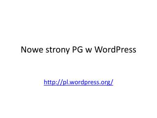 N owe strony PG w WordPress