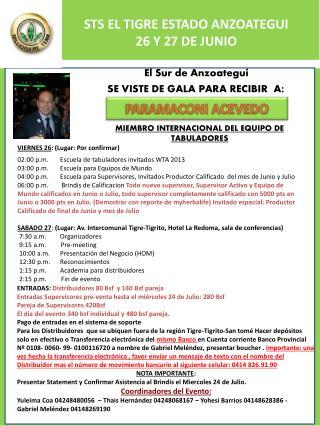 STS EL TIGRE ESTADO ANZOATEGUI 26 Y 27 DE JUNIO