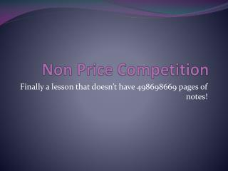 Non Price Competition