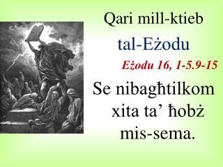 Qari mill-ktieb  tal-Eżodu Eżodu  16, 1-5.9-15 Se nibagħtilkom xita ta' ħobż mis-sema.
