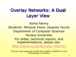 Overlay Networks: A Dual Layer View