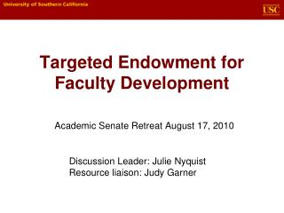 Targeted Endowment for Faculty Development