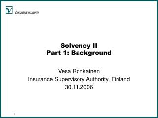 Solvency II Part 1: Background