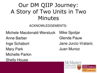 Our DM QIIP Journey: A Story of Two Units in Two Minutes