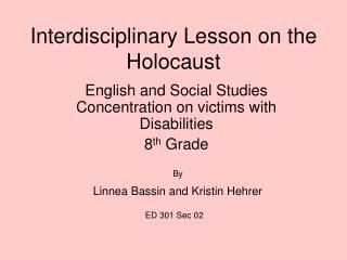 Interdisciplinary Lesson on the Holocaust