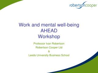 Work and mental well-being AHEAD Workshop