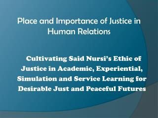 Place and Importance of Justice in Human Relations