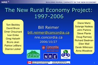 The New Rural Economy Project: 1997-2006