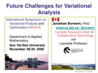 Future Challenges for Variational Analysis